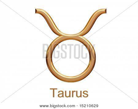 taurus - golden astrological zodiac symbol isolated on white
