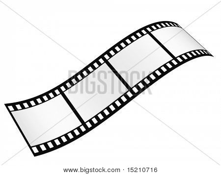 film strip with empty frames isolated on white