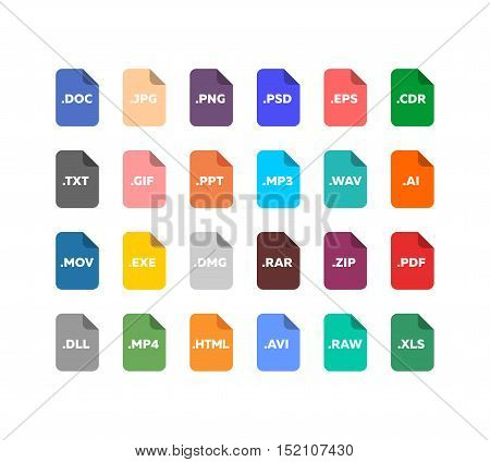 Simple flat style file extensions icon set