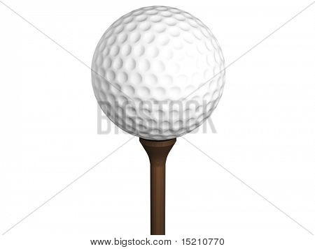 golf ball on tee isolated on white