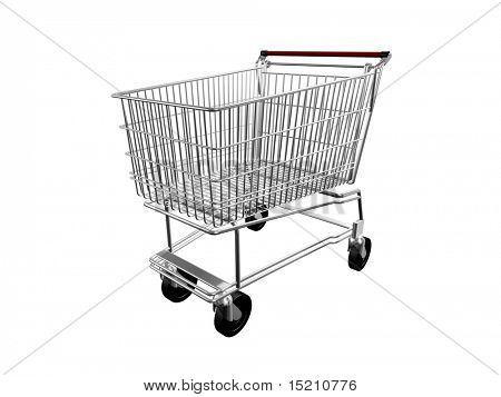 3d chrome shopping cart isolated on white left side