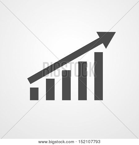 Growing bar graph icon with rising arrow. Financial forecast graph. Black graphic icon. Vector illustration.