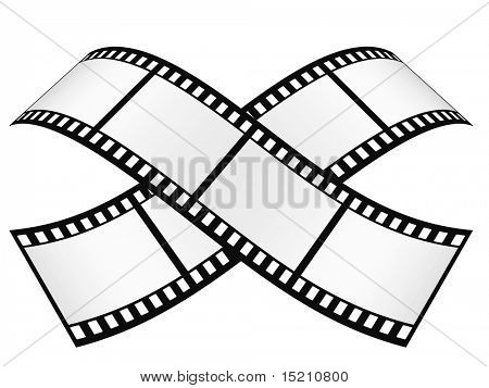 two crossed film strip with empty frames isolated on white