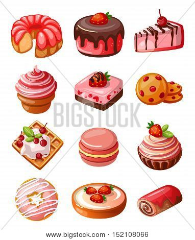 Vector set of icons isolated decorative cakes, biscuits and sweets