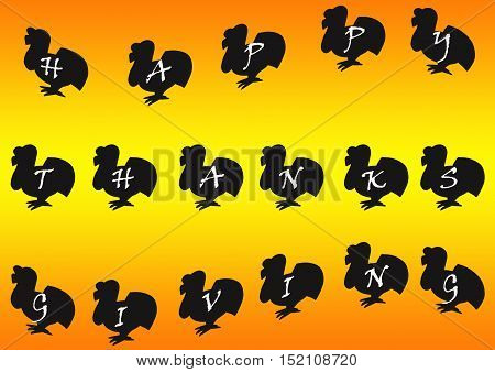 Happy Thanksgiving typed on Turkey Silhouettes on an orange and yellow background.