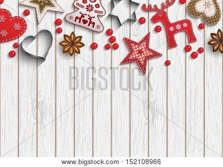 Christmas background, small scandinavian styled red decorations lying on white wooden background, inspired by flat lay style, vector illustration, eps 10 with transparency