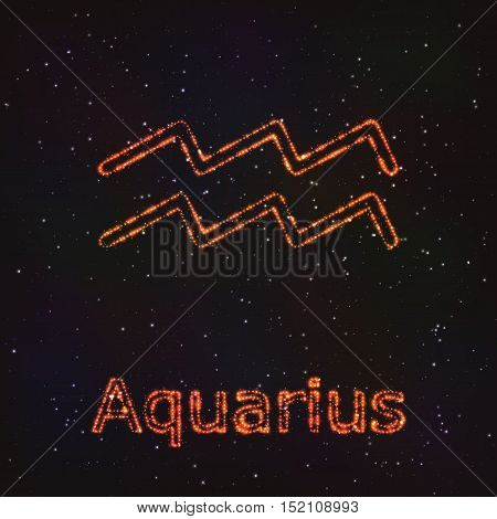 Astrology Shining Symbol. Horoscope Sign. Zodiac Aquarius.