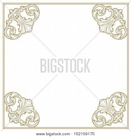 Golden frame, vintage frame, baroque frame, scroll frame, ornamental frame, engraving frame, antique frame, acanthus frame, foliage frame, swirl decorative frame. vector