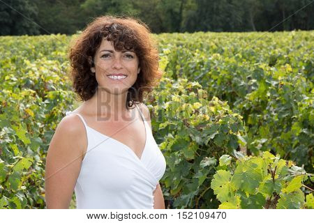 Woman Winemaker, In Vineyard During Wine Harvest Season