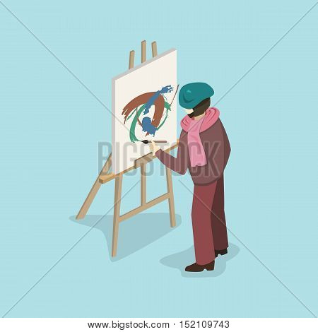 Artist Painter At Work Easel Flat 3D Web Isometric Infographic Concept Vector Template.