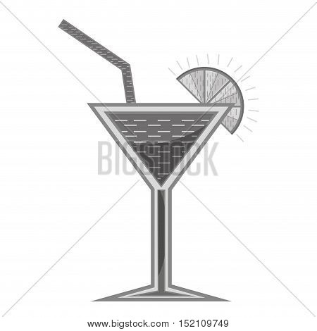 cocktail liquor  drink with lemon slice and straw over white background. vector illustration