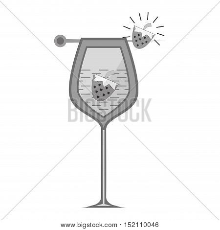 cocktail liquor drink with strawberry and lemon slices over white background. vector illustration