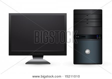 vector desktop computer with lcd monitor