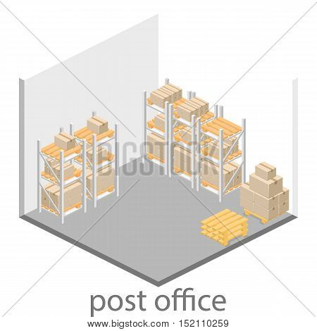 Isometric flat 3D interior of post office. Vector illustration post service