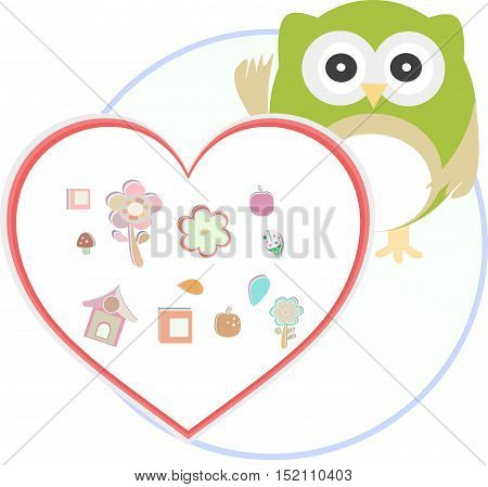 Cute funny owl with love heart isolated on white.