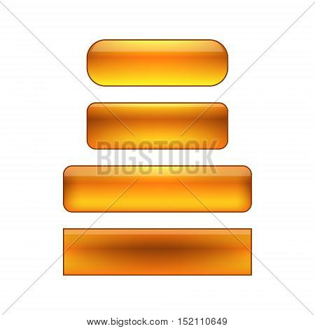 vector isolated blank web buttons set - orange