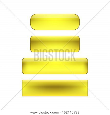 vector isolated blank web buttons set - yellow