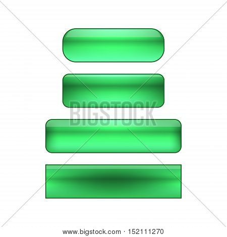 vector isolated blank web buttons set - green