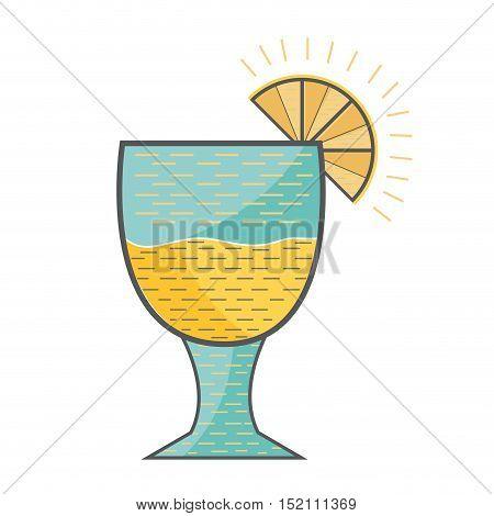 cocktail liquor  drink with lemon slice over white background. vector illustration