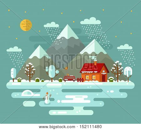 Flat design vector nature night winter landscape illustration with house, fence, pond, snowman, bench, moon, mountains, birds, clouds, trees, snow, snowflakes, snowfall, snowdrift, icicles.