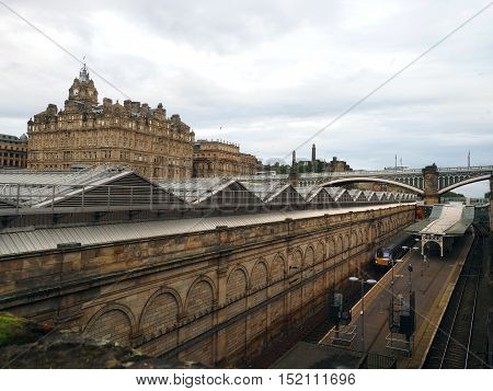 Edinburgh Waverley railway station with former North British Hotel above the station Edinburgh Scotland Europe