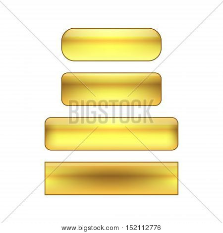 vector isolated blank web buttons set - golden