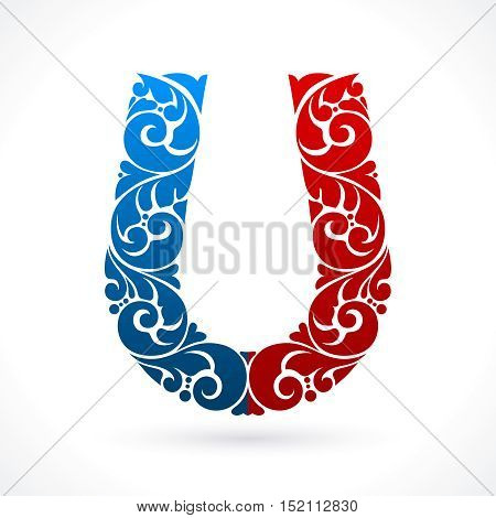 Decorative ornate color magnet symbol isolated on white background. Vector illustration. Red and blue horseshoe magnet