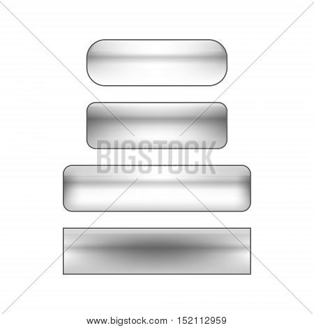 vector isolated blank web buttons set - silver