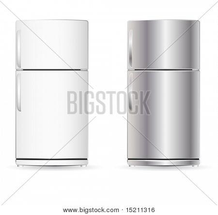 vector fridge isolated on white
