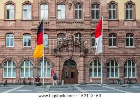 Frankfurt am Main Germany - May 23 2016: Detail of the Old Town Hall on the Paulsplatz square in Frankfurt am Main Germany. The entire building complex consists of nine houses encircling six courtyards.