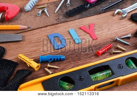 Diy Working Tools. Working Tools On Wooden Table. Diy Blank Project With Working Tools. Working Tool