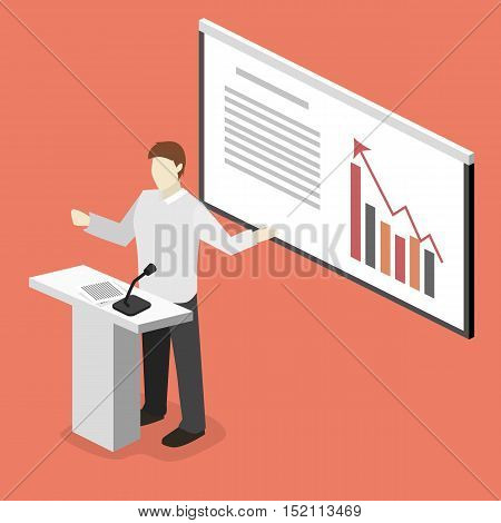Business Meeting In An Office Business Presentation Meeting In Conference Hall. Flat 3D Illustration
