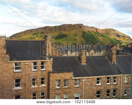 Arthur's Seat mountain hiking trail in Holyrood Park Edinburgh Scotland