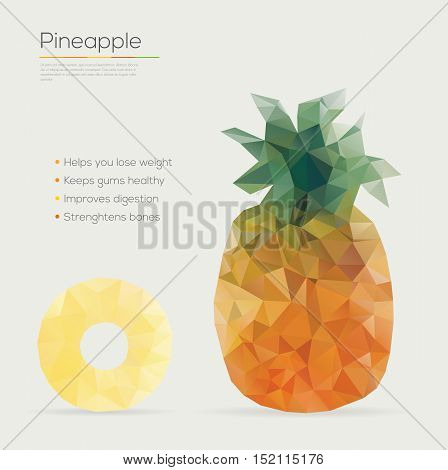 Vector illustration of a pineapple geometric style.