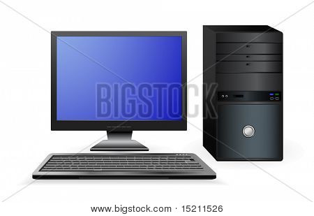 vector office computer isolated on white
