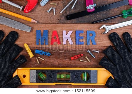 Maker Concepts. Working Tools, Set Of Working Tools On Wooden Background. Wood Working Tools Backgro
