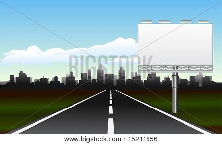 road to the city with billboard