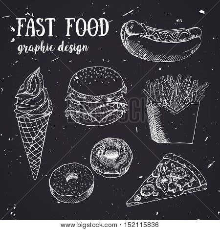 Hand drawn fastfood set. Creative vector illustration. Designed to logo, label, emblem design for fastfood menu, restaurant, snack bar or pizzeria.