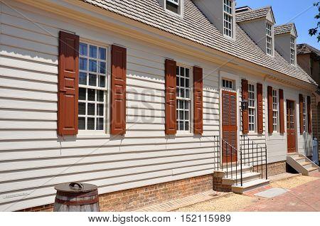 Antique House in Colonial Williamsburg Historic District, Williamsburg, Virginia, USA.