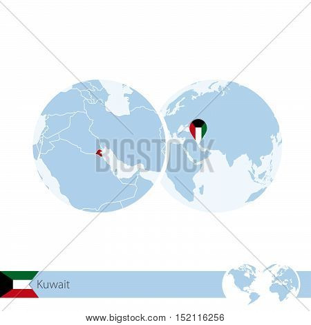 Kuwait On World Globe With Flag And Regional Map Of Kuwait.