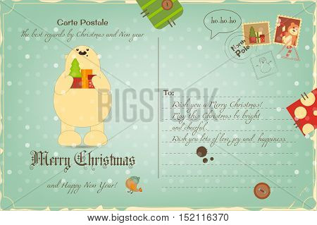 Vintage Postcard with Christmas and New Years Greeting. Backdrop of Postal Card  for Winter Holiday. Polar Bear. Vector Illustration.