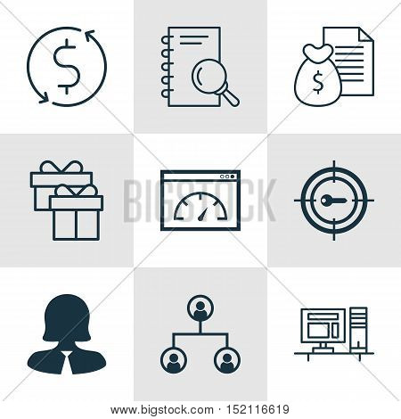 Set Of 9 Universal Editable Icons For Airport, Human Resources And Seo Topics. Includes Icons Such A