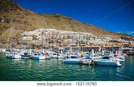 marina of the small town Los Gigantes by the Atlantic ocean in Tenerife Spain