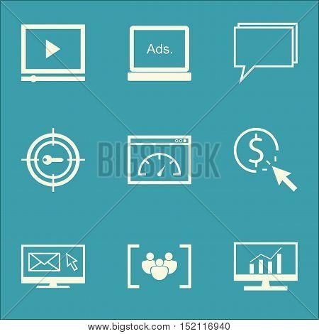 Set Of Marketing Icons On Keyword Marketing, Conference And Digital Media Topics. Editable Vector Il