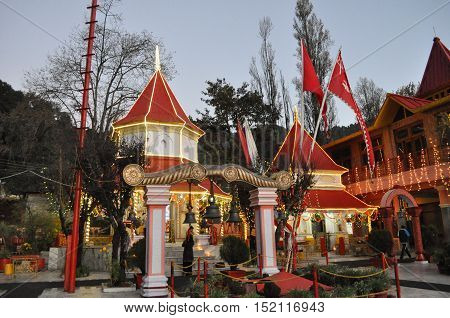 November 11, 2015: The beauty of Naina Devi Temple early in the morning on Diwali