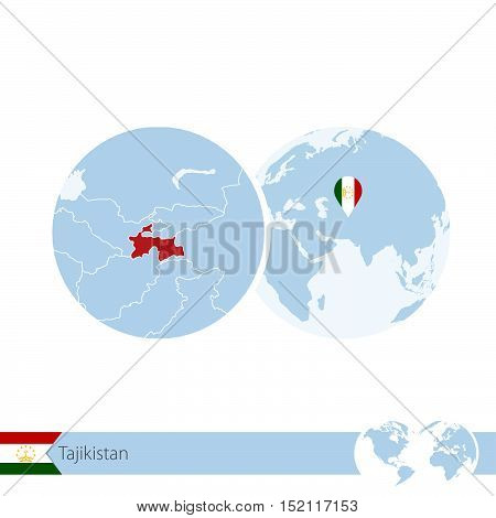 Tajikistan On World Globe With Flag And Regional Map Of Tajikistan.