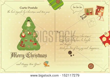 Vintage Postcard with Christmas and New Years Greeting. Backdrop of Postal Card.  Decorated Christmas Tree. Vector Illustration.