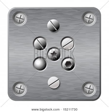 vector metal plate with screws and rivets