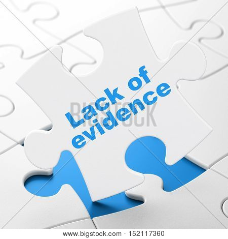 Law concept: Lack Of Evidence on White puzzle pieces background, 3D rendering