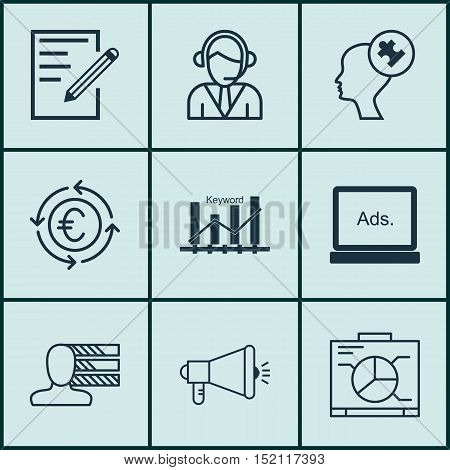 Set Of 9 Universal Editable Icons For Project Management, Business Management And Education Topics.